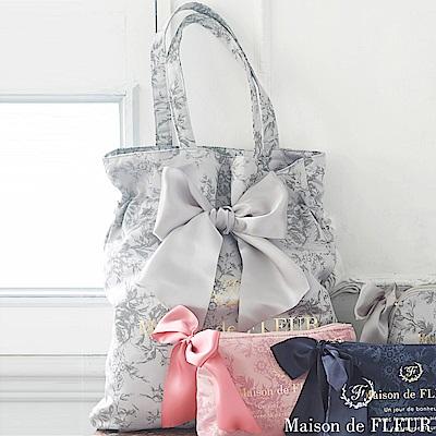 Maison de FLEUR 印花蝴蝶結綁帶手提袋/包