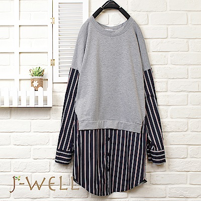 J-WELL 拼接直條紋長袖上衣(2色)