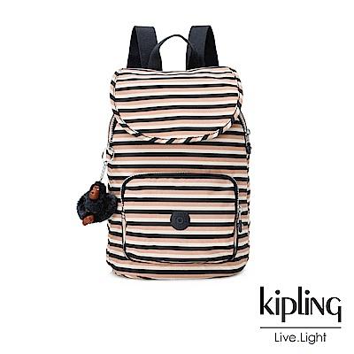 Kipling簡約條紋密橙後背包(中)