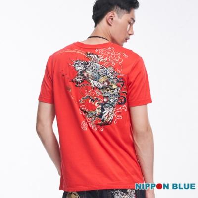 日本藍 BLUE WAY-進口金標-魂鯉短TEE(紅)