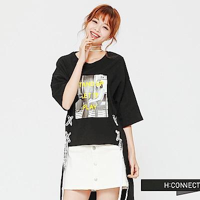 H:CONNECT 韓國品牌 女裝 - 側綁帶圖像棉質上衣-黑