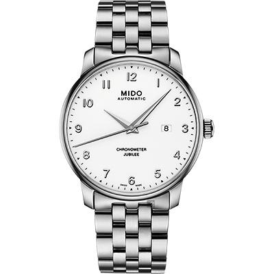 MIDO美度 Baroncelli 永恆系列天文台認證機械錶-銀/42mm
