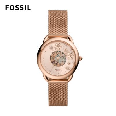 FOSSIL Tailor 優雅花卉透視機械錶 米蘭編織不鏽鋼錶帶 35mm ME3187