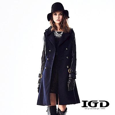 IGD英格麗 厚挺羊毛拼袖雙排扣長版大衣外套-深藍