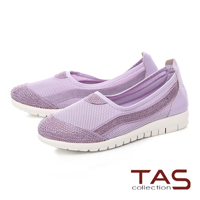 TAS水鑽拼接透氣網布懶人休閒鞋-神秘紫