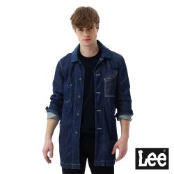 Lee 長版牛仔外套-男款-深藍