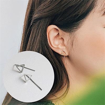 梨花HaNA 韓國925銀簡約風格三角鏤空耳環銀色