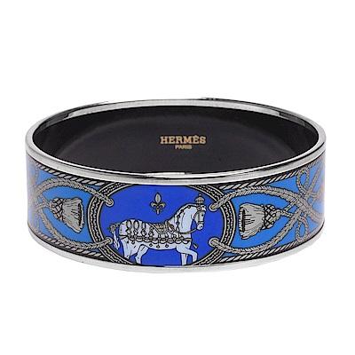 HERMES Grand Apparat 2經典戰馬繩索印花圖騰琺瑯手環(藍)