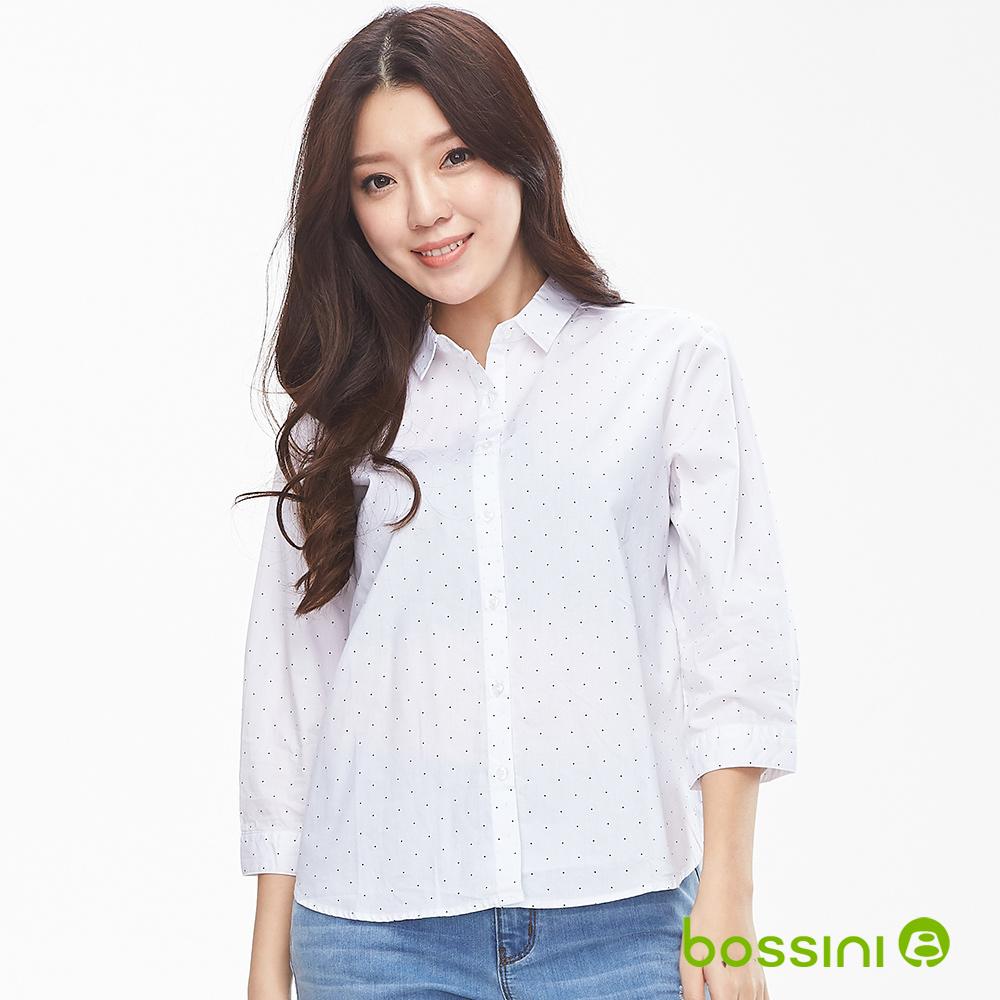 bossini女裝-純棉圖案7分袖襯衫01白