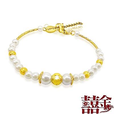 囍金 鏤空雪花珍珠 999千足金珍珠手鍊