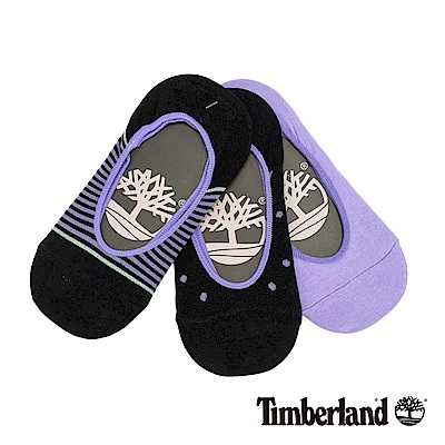 Timberland 女款紫黑混搭條紋點點三件組隱形襪|A1EAZ