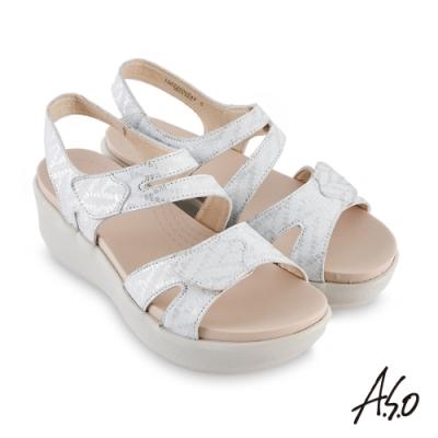 A.S.O 機能休閒 厚底美學金箔牛皮腳床休閒涼鞋-銀