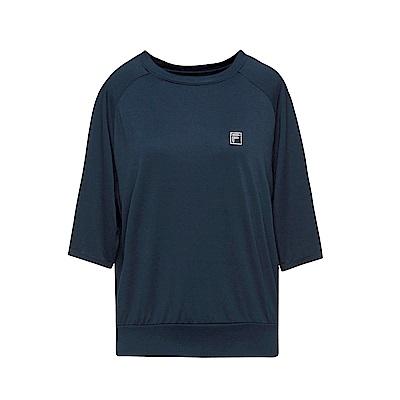 FILA 女款涼感短袖T恤-深藍 5TET-1603-DB