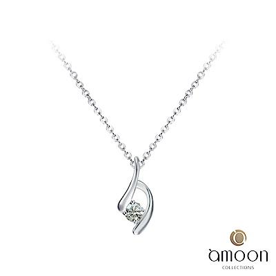 amoon 戀戀東京系列 相擁 鉑金鑽石墜子 送18K金純銀項鍊