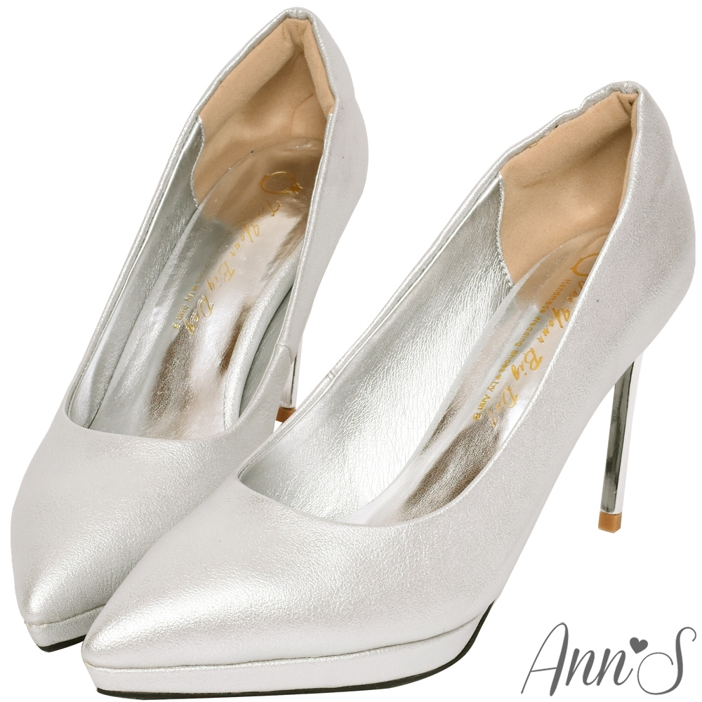 Ann'S燈光焦點-質感磨砂電鍍鞋跟防水台尖頭高跟鞋-銀