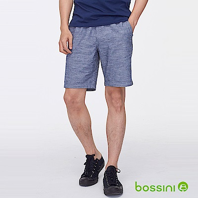 bossini男裝-素色時尚短褲牛仔藍