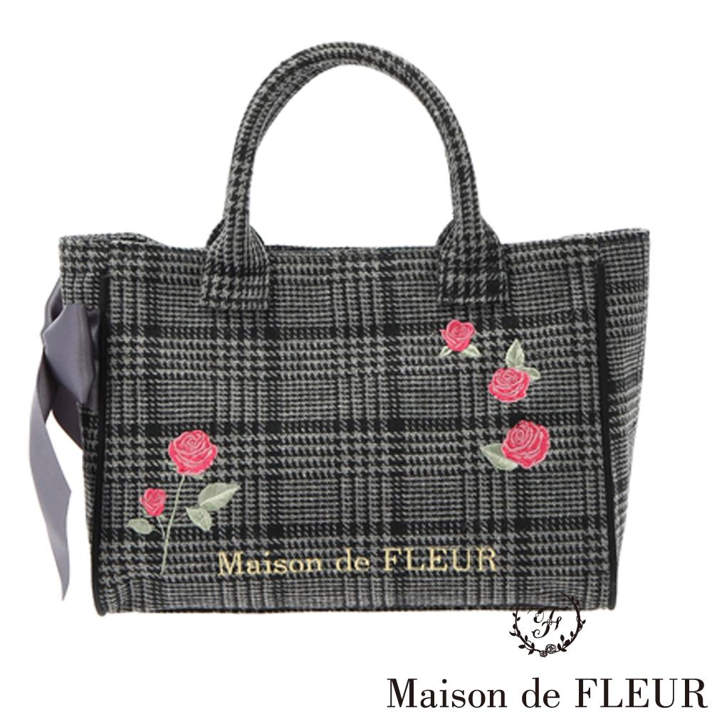 Maison de FLEUR  經典千鳥格紋玫瑰刺繡手提包