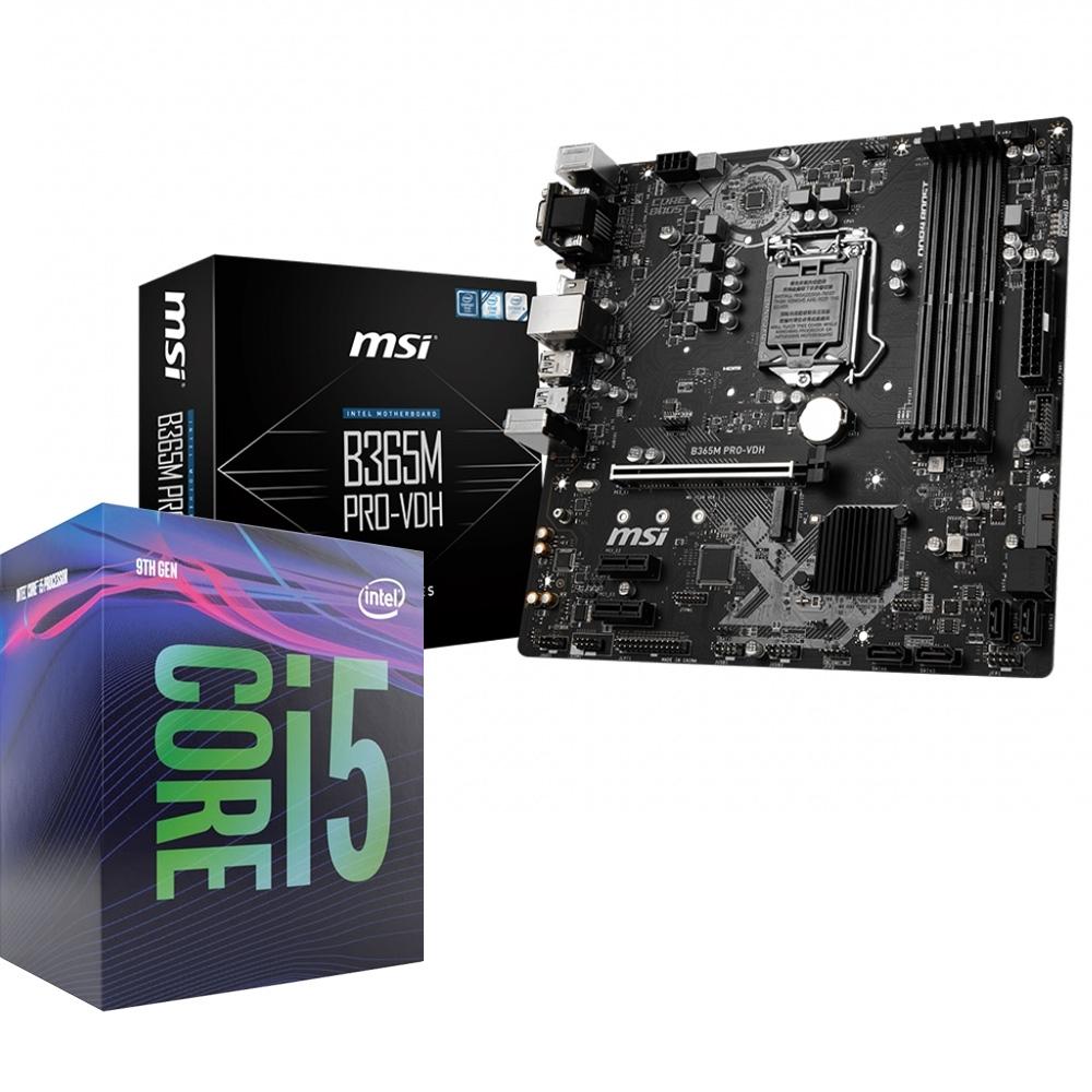 微星 MSI B365M PRO-VDH  主機板+Intel I5-9400F 處理器 組合