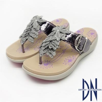 DN涼拖鞋_ MIT爆裂紋牛皮立體花朵拖鞋-銀紫
