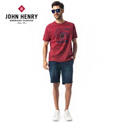【JOHN HENRY】美式橄欖球印花短袖T恤-紅