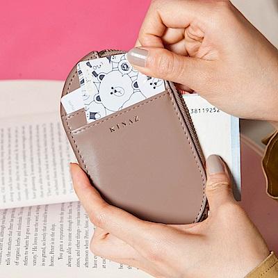 KINAZ 真皮橢圓卡片萬用零錢包-奇幻可可棕-小物魔法系列