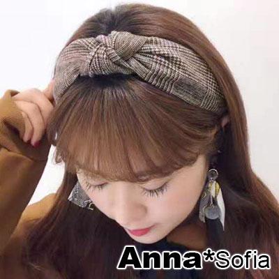 AnnaSofia 點細線格紋中央結 韓式寬髮箍(褐咖系)