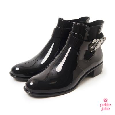 Petite Jolie-個性扣環切爾西短靴-黑色