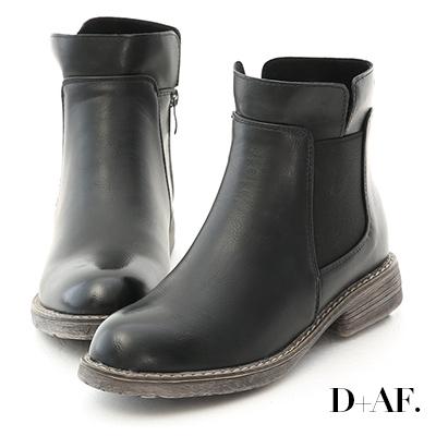 D+AF 街頭率性.圓頭軍風切爾西短靴*黑