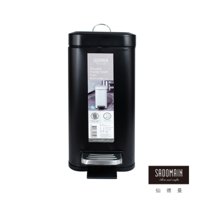 【SADOMAIN 仙德曼】靜音緩降方形垃圾桶-5L(黑)