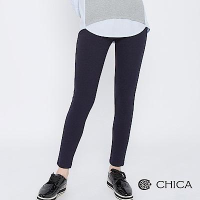 CHICA 慢活初秋壓縫口袋純色內搭褲(1色)
