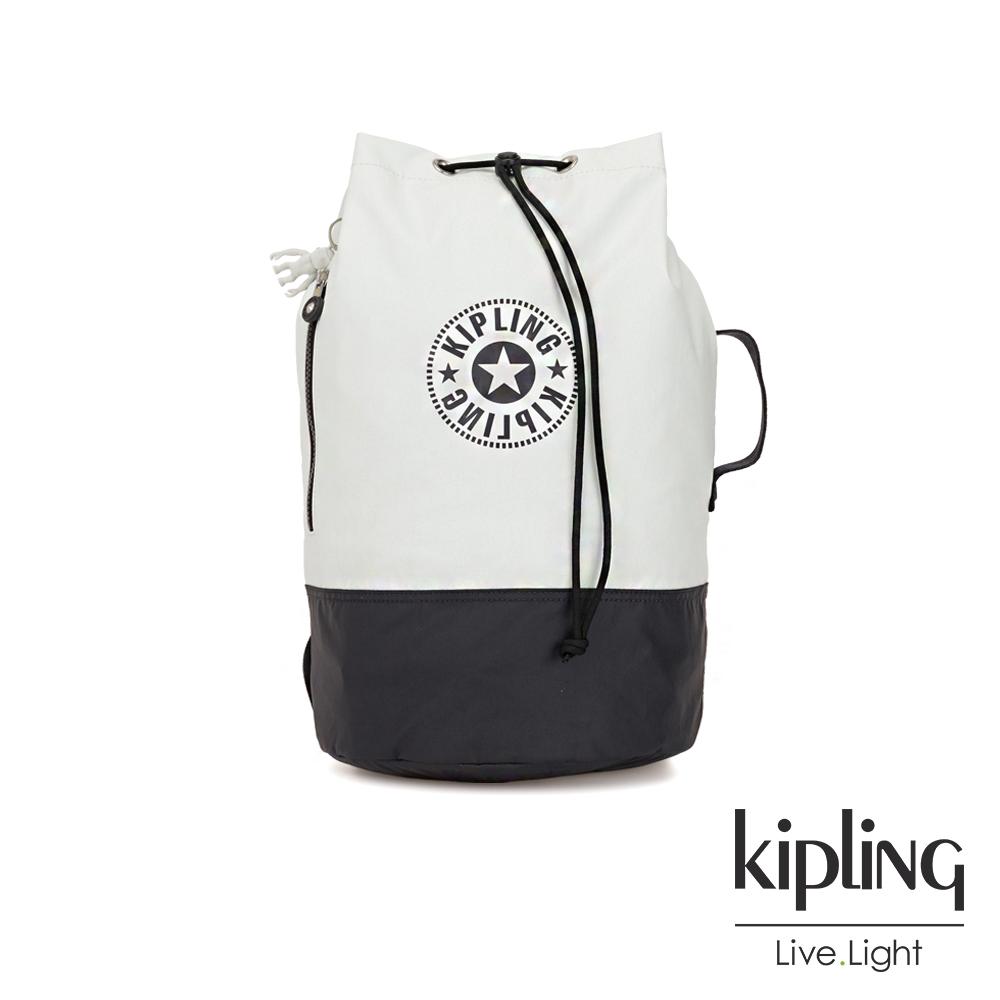 Kipling 渡假海灘風黑白撞色復古休閒LOGO束口水桶手提後背包-ETOKO