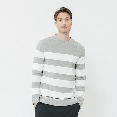 Hang Ten - 男裝 - 撞色條紋圓領上衣-灰色