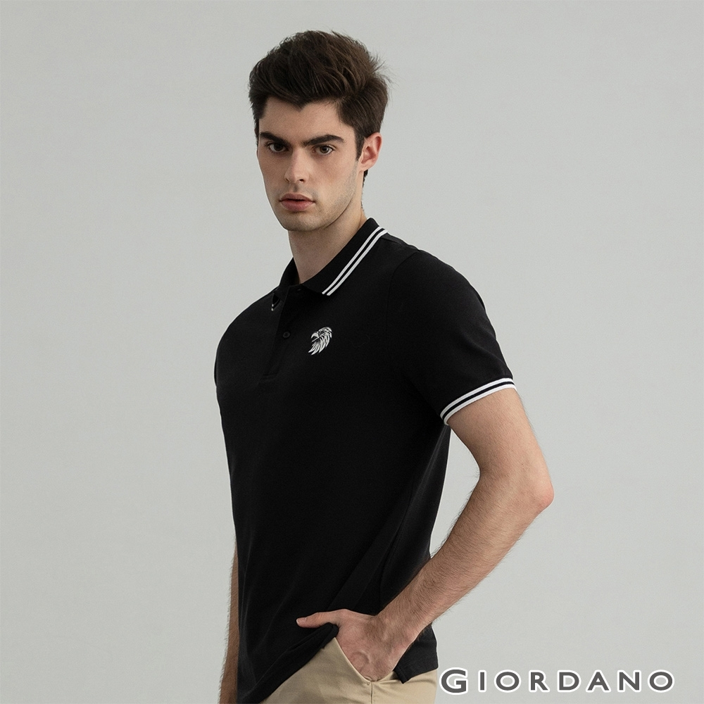 GIORDANO  男裝素色老鷹刺繡POLO衫 - 01 標誌黑