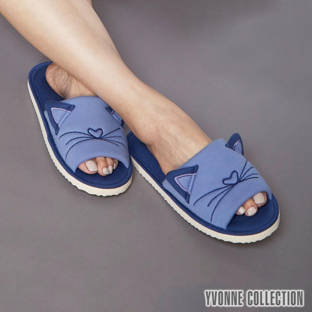Yvonne Collection 貓咪立體造型開口拖鞋-藍紫M