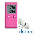 dretec 室內室外雙顯示長型溫度計-粉