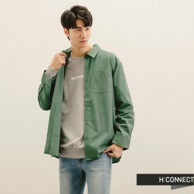H:CONNECT 韓國品牌 男裝-俐落純色排扣襯衫-藍綠色