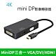Mini DP轉HDMI(4K)DVIVGA 3合1轉換器 Mini display 多功能轉接線 product thumbnail 1