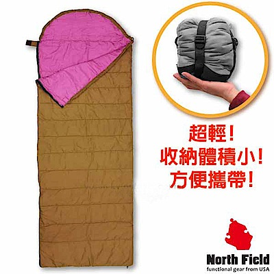 美國 North Field 丸洗 15℃超輕全開式信封型化纖睡袋_咖啡金/紫
