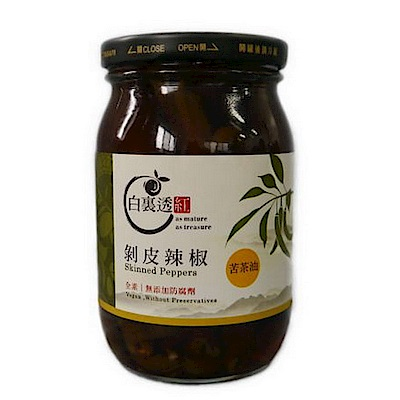 白裏透紅 剝皮辣椒 苦茶油口味(450g)