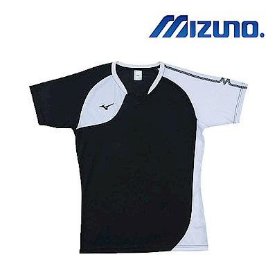 MIZUNO 美津濃 男女短袖排球T恤 黑白 V2TA8G1690
