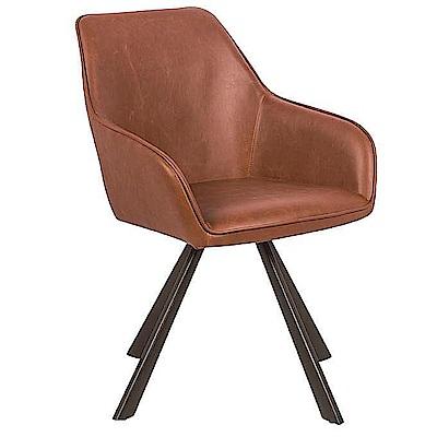 AS-馬文鐵藝紅棕色皮旋轉餐椅-58x60x83cm