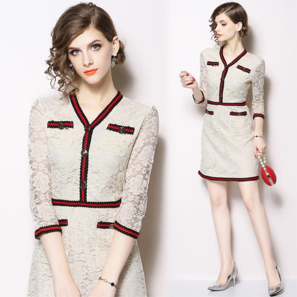 DABI 歐美風時尚名媛V領線條蕾絲裙長袖洋裝