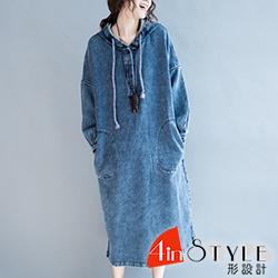 素面連帽微開衩長款牛仔洋裝 (共二色)-4inSTYLE形設計