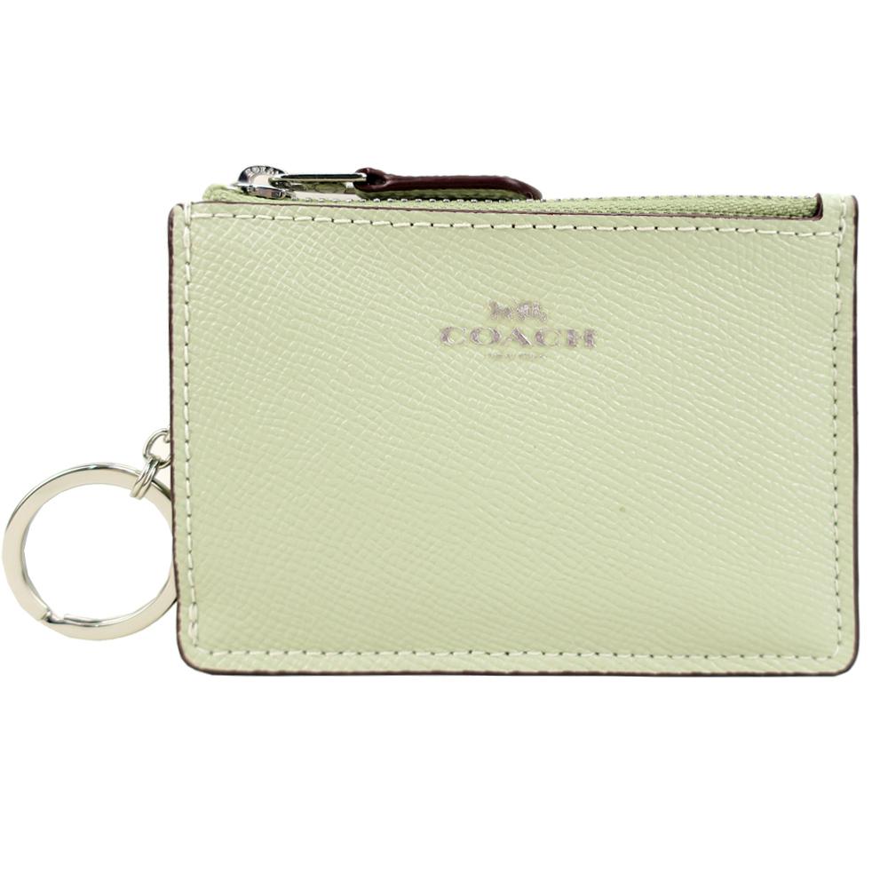 COACH 馬車防刮皮革後卡夾鑰匙零錢包(淡綠)COACH