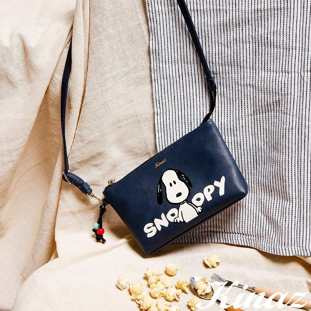 KINAZ SNOOPY史努比聯名款 透明觸控手機層斜背包-默契經典藍-Friends氧氣小物系列