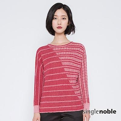 獨身貴族 自我對白麻花織紋斜拼針織衫(2色)