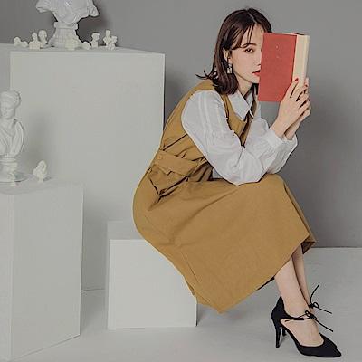純色高含棉可調式腰圍傘襬背心洋裝-OB大尺碼