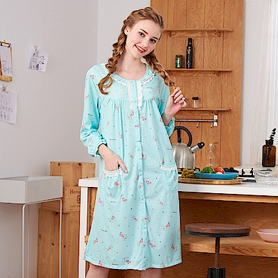 睡衣 繽紛派對 針織棉長袖連身睡衣(R75207-4湖水綠) 蕾妮塔塔