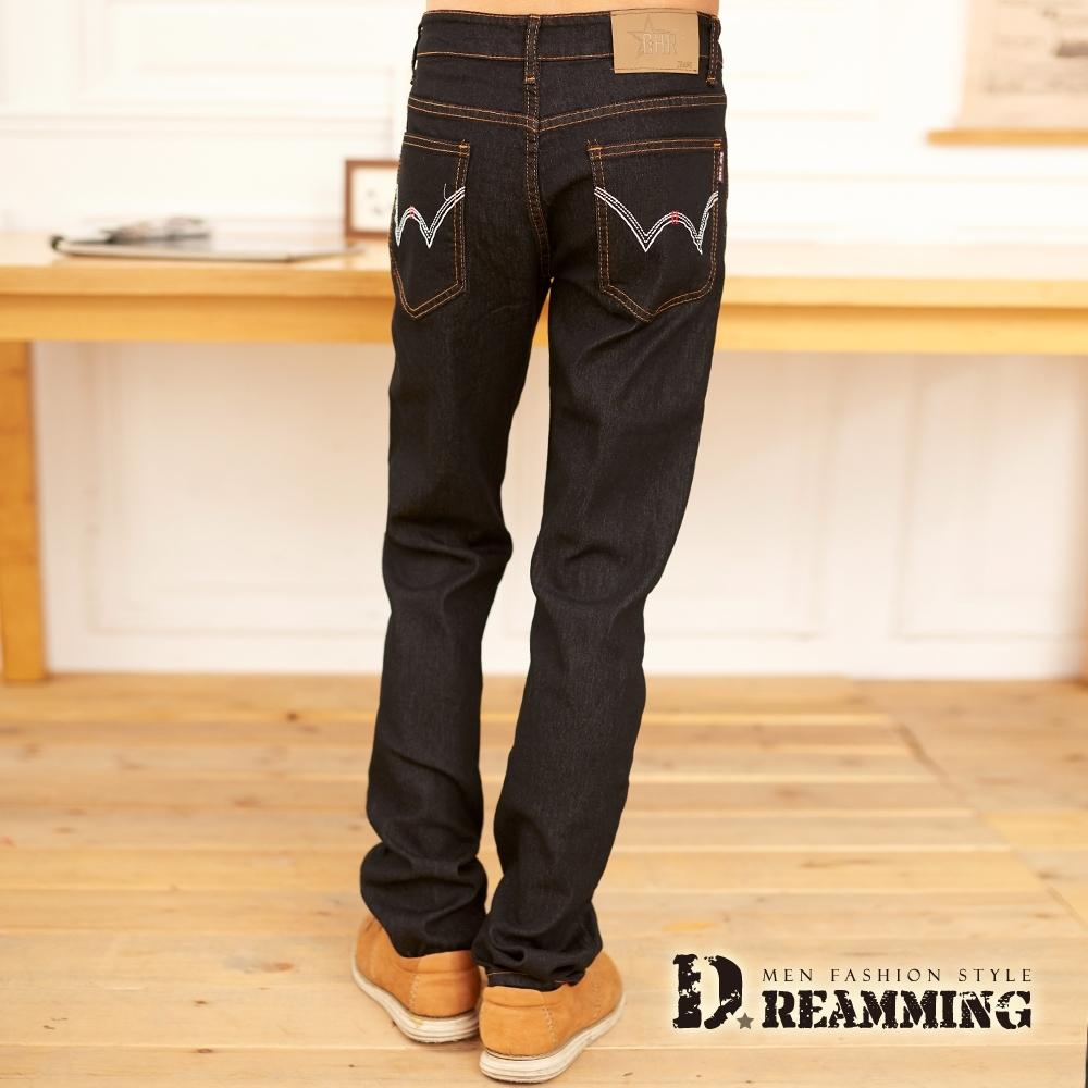 Dreamming 時尚W刺繡純色伸縮小直筒牛仔褲-共二色 (黑色)