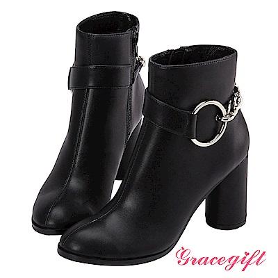 Grace gift X Wei唐葳-金屬大圓鍊條粗跟短靴 黑